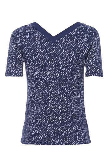 T-shirt cotone scollo V Smart Basic, Bianco/Blu, hi-res