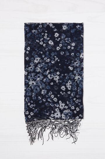 Sciarpa stampata pura viscosa, Blu navy, hi-res