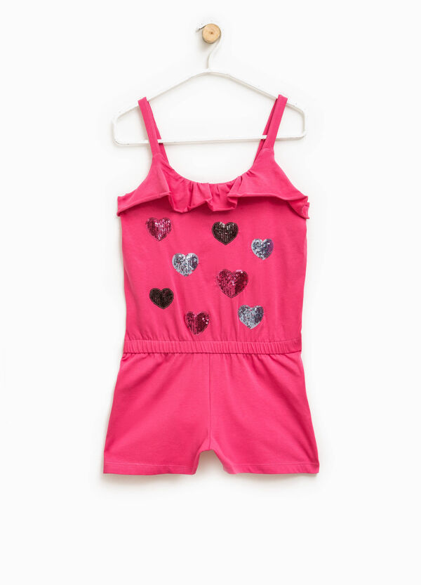 Jumpsuit with flounce and star-shaped sequins | OVS
