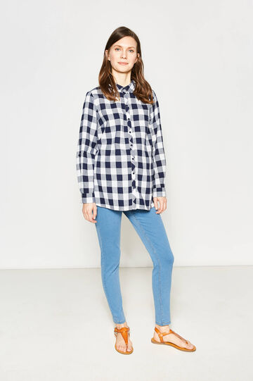 MUM shirt with check pattern, White/Blue, hi-res