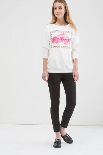 Cotton blend printed sweatshirt, White, hi-res