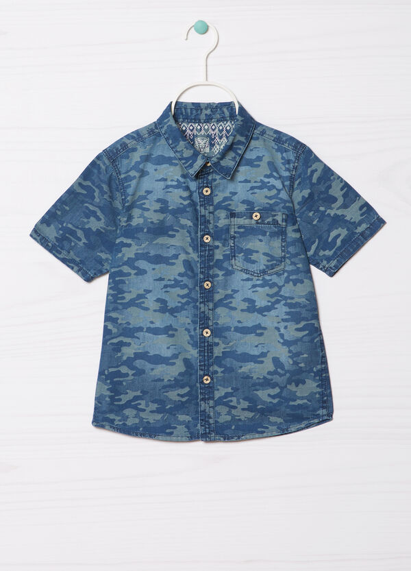 Printed camouflage cotton shirt | OVS