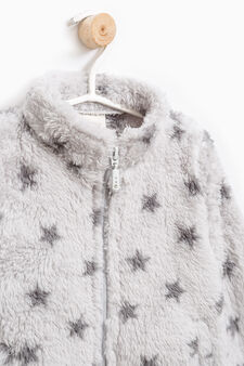 Faux fur sweatshirt with pattern, Grey, hi-res