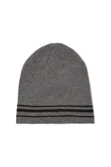 Striped cotton knitted beanie cap, Grey Marl, hi-res