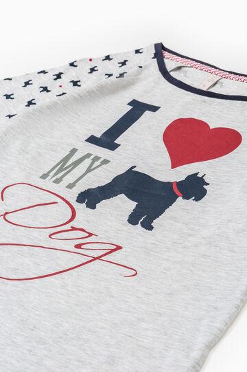 Printed cotton nightshirt, Grey Marl, hi-res