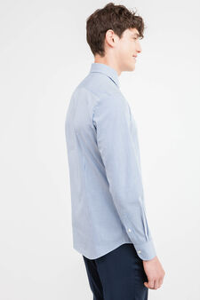 Slim-fit formal shirt with striped pattern, White/Blue, hi-res