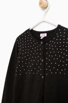 Cotton and viscose cardigan with diamantés, Black, hi-res