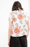 Floral pattern crop T-shirt, Milky White, hi-res