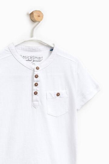 Cotton polo shirt with Mandarin collar