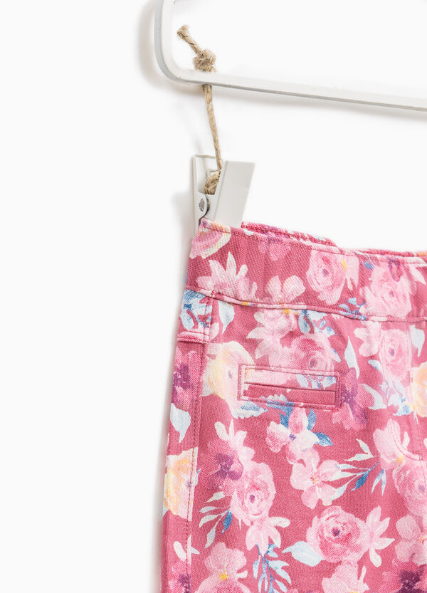 Cotton jeggings with floral pattern | OVS