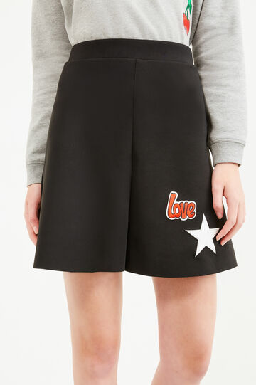High waist culottes with patches, Black, hi-res