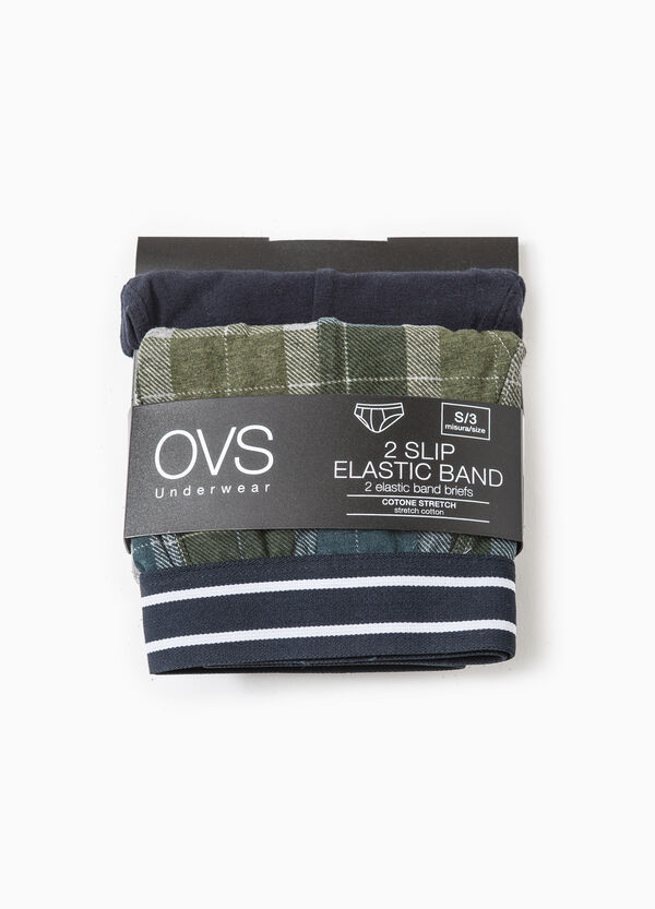 Set of two briefs solid colour and check | OVS