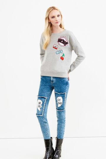 Jeans stretch con toppe, Blu scuro, hi-res