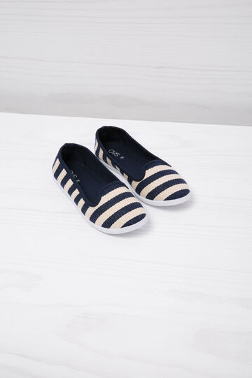 Striped pattern slip-ons, White/Blue, hi-res