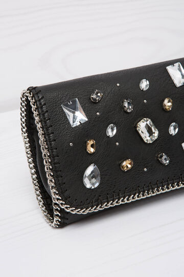 Diamanté clutch, Black, hi-res