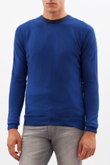 Round neck pullover, Electric Blue, hi-res
