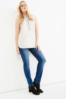 Curvy sleeveless blouse with zip, Chalk White, hi-res