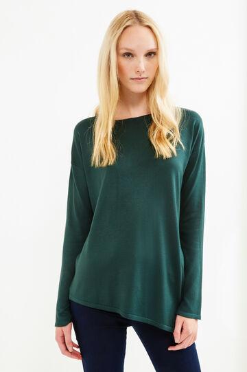 Pullover viscosa fondo asimmetrico, Verde, hi-res