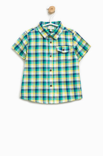 Checked shirt with short sleeves, Multicolour, hi-res