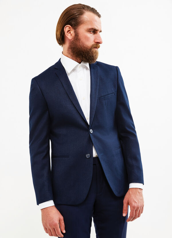 Custom-fit blazer with micro pattern | OVS