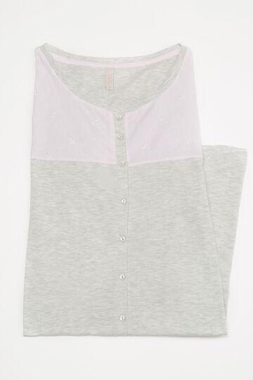 Melange cotton nightshirt, Grey Marl, hi-res