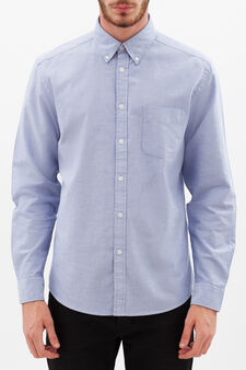 Plain, regular-fit shirt, Dark Blue, hi-res