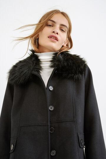 Coat with fur collar, Black, hi-res