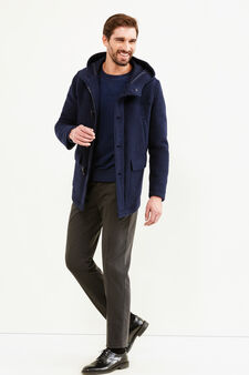 Wool blend Rumford coat with toggles, Blue, hi-res