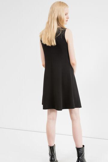 Short sleeveless stretch piquet dress, Black, hi-res