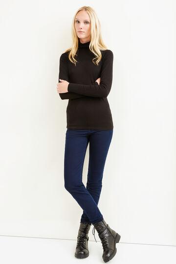 Stretch viscose turtleneck jumper, Black, hi-res