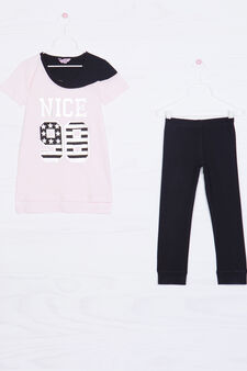 Cotton outfit consisting of T-shirt and leggings, Black/Pink, hi-res