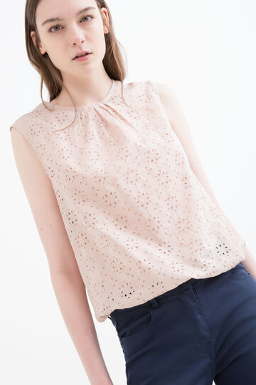 Patterned blouse in pleated cotton, Sand, hi-res