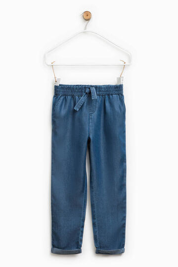 Jeans with elastic waist band and drawstring