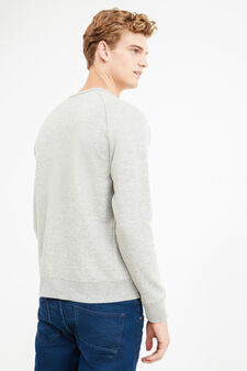 G&H patch 100% cotton sweatshirt, Grey Marl, hi-res