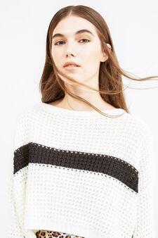 Pullover crop lavorato tricot ricamato, Bianco/Nero, hi-res