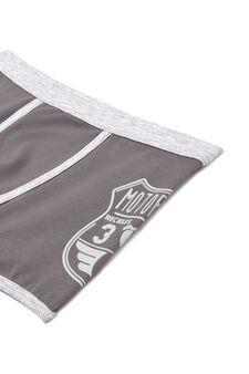 Boxer in jersey stretch con stampa, Grigio scuro, hi-res