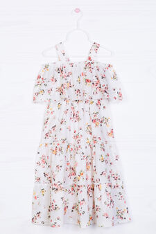 Full-length floral dress in 100% cotton, Multicolour, hi-res