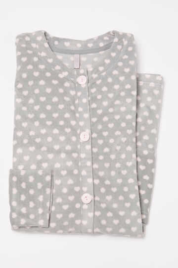 Printed fleece robe, Grey/Pink, hi-res