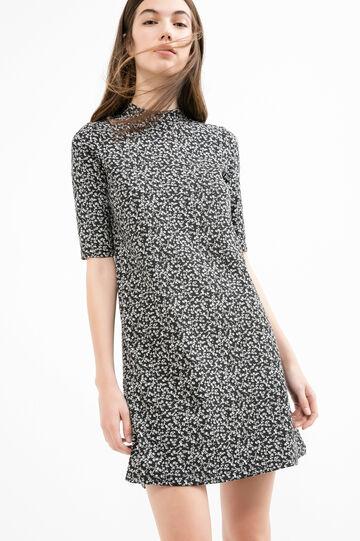 Stretch cotton dress with high neck, Black print 1, hi-res