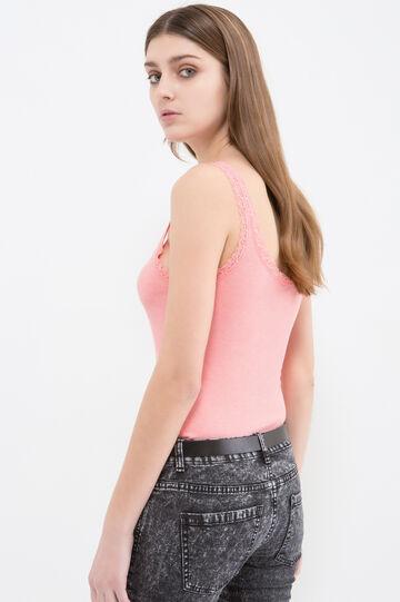 Cotton blend top with lace appliqué, Light Pink, hi-res