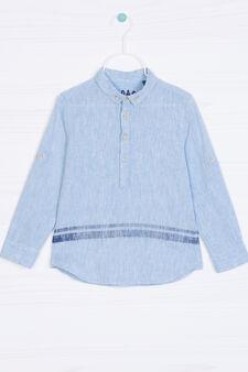 Camicia misto lino fantasia, Blu chiaro, hi-res