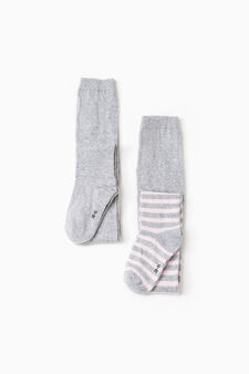 Two-pair pack solid colour and striped tights, Grey/Pink, hi-res