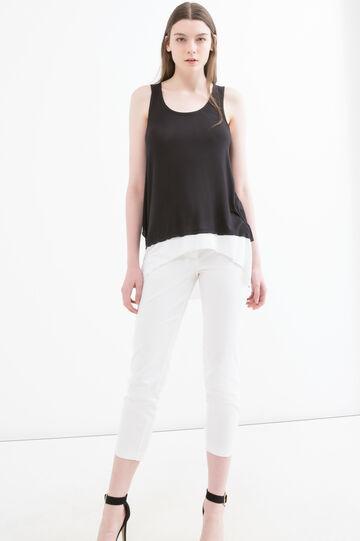 Viscose vest with faux layering, Black, hi-res