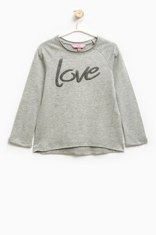 100% cotton sweatshirt with glitter print, Grey Marl, hi-res