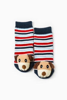 Stretch striped slipper socks, White/Blue, hi-res