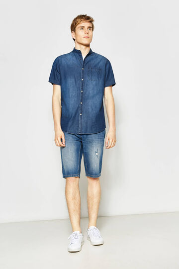 Straight fit worn denim Bermuda shorts