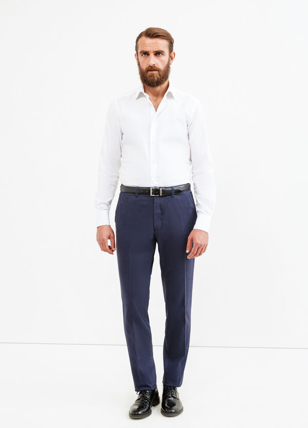 100% cotton trousers with crease | OVS