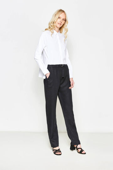 Trousers in 100% linen with belt