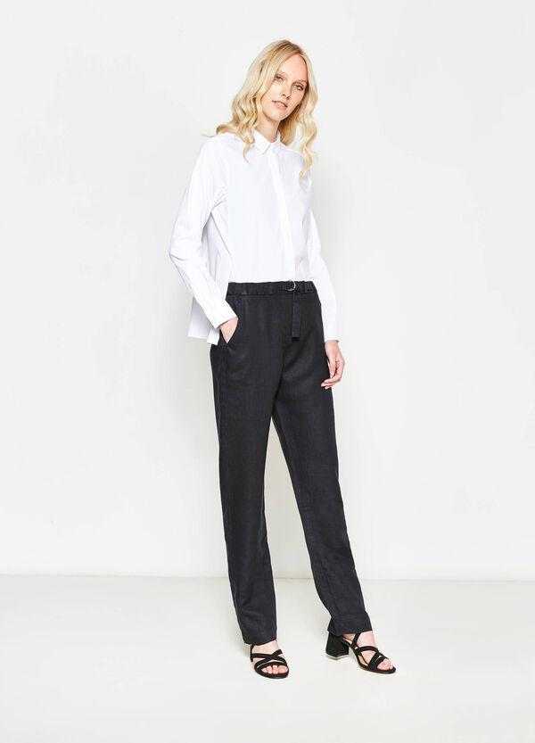 Pantalón en lino 100% con cinturón | OVS