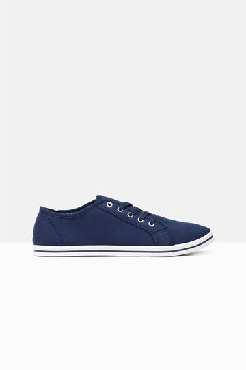 Canvas lace-up sneakers, Navy Blue, hi-res